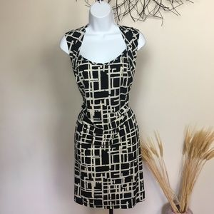 Black and white LILY sleeveless work dress. Career
